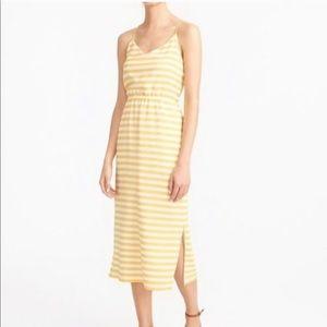 J. Crew Carrie Cami Yellow Striped Dress Size 2